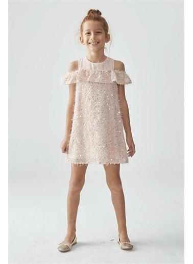 Tyess Kız Çocuk Pudra Elbise Pudra